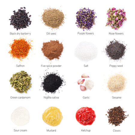 seasoning: Different spices. Isolated on white background Stock Photo