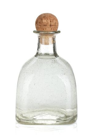 シルバー テキーラのボトル。白い背景に分離
