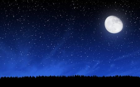 Głębokie nocne niebo z wielu gwiazd i księżyca w tle lasu