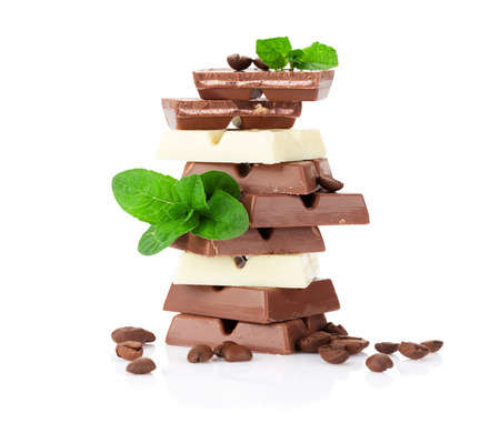 chocolate mint: Chocolate and coffee beans. Isolated on white background