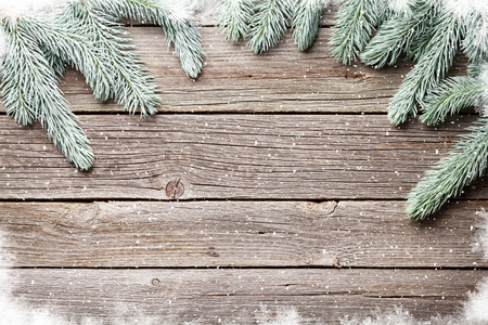 wooden boards: Christmas wooden background with fir tree. View with copy space Stock Photo