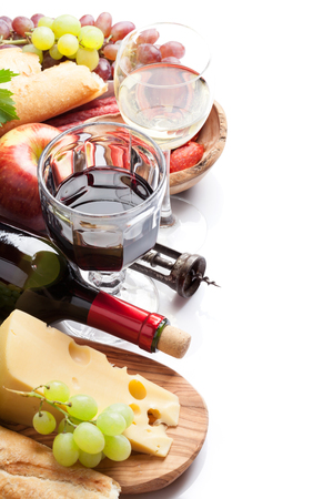 white wine: Red and white wine, grape, cheese and sausages. Closeup. Isolated on white background with copy space