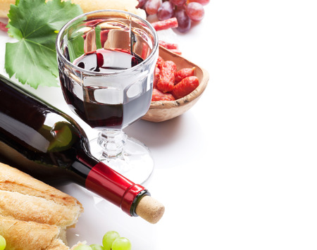 wine grape: Red wine, grape, bread and sausages. Isolated on white background with copy space