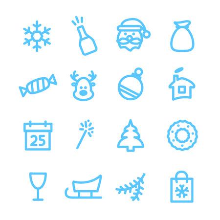 christmas winter: Christmas icons set. Xmas and winter holidays vector elements. Flat design