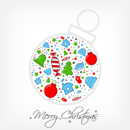 Christmas icon set inside of bauble. Xmas and winter holidays elements. Flat design greeting card