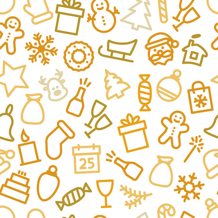 christmas icon: Christmas icon set seamless pattern. Illustration