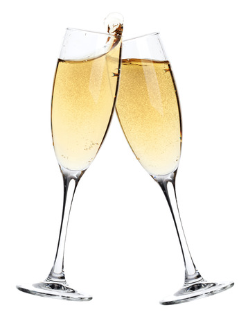 Cheers! Two champagne glasses. Isolated on white background Фото со стока - 63152910