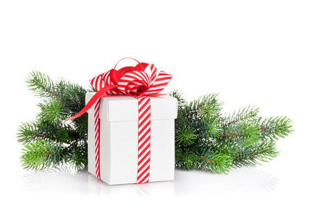 christmas gift box: Christmas gift box and fir tree branch. Isolated on white background
