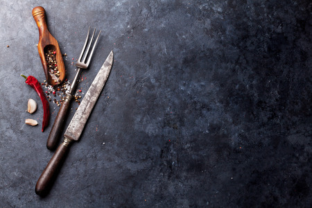 fork and knife: Spices and utensils. Top view over stone table with copy space for your recipe