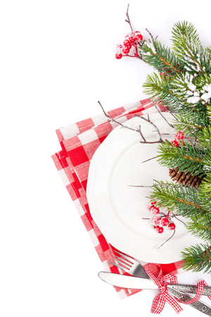Christmas table setting with fir tree. Isolated on white background