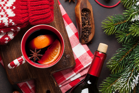 Christmas mulled wine and ingredients. Top view