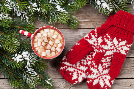 Christmas fir tree, mittens, hot chocolate and marshmallow on wooden table. Top view