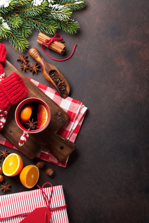Christmas mulled wine and ingredients. Top view with copyspace Banco de Imagens