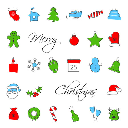 Christmas icons set. Xmas and winter holidays vector elements. Flat design