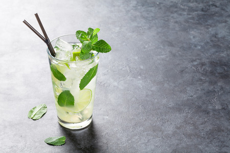 Mojito cocktail on dark stone table. With copy space for text