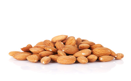 Almonds nuts. Isolated on white background