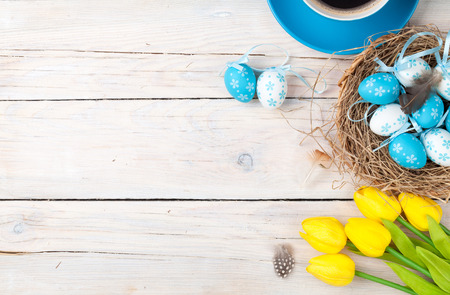 Easter background with blue and white eggs in nest, yellow tulips and coffee cup over white wood. Top view with copy space Stockfoto