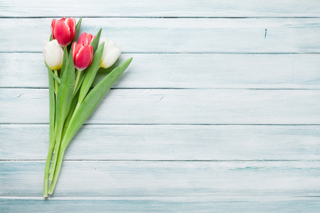Colorful tulips bouquet on wooden background. Red and white. With space for your greetings