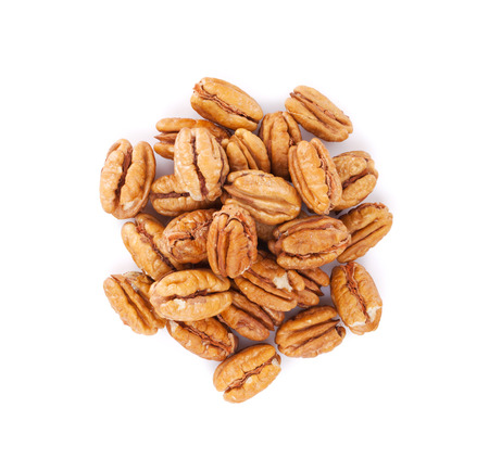 white yummy: Pecan nuts. Isolated on white background