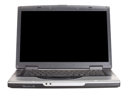 Laptop with blank black screen. Front view. Isolated on white background Stock Photo