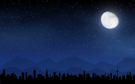 Skyline and deep night sky with many stars and moon Stock Photo