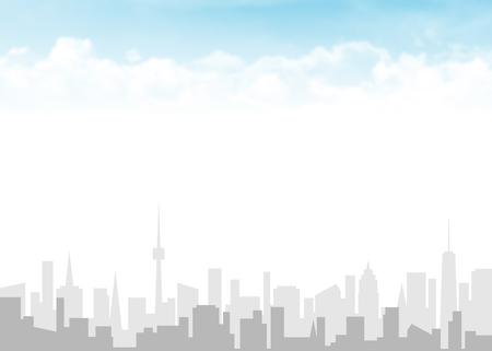 City skyline and blue sky with clouds abstract background illustration with copy space Zdjęcie Seryjne - 79547421