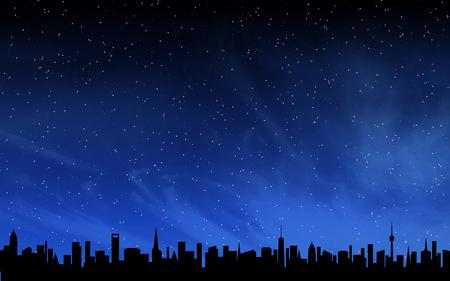 Skyline and deep night sky with many stars