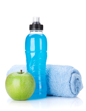 Fitness concept. Water bottle, towel and apple. Isolated on white background Stock Photo