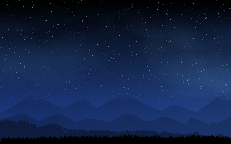 Forest in front of mountains and deep night sky with many stars and moon background 版權商用圖片