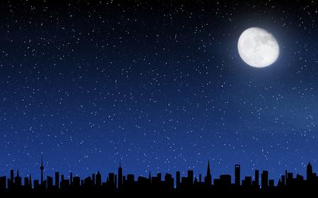 Skyline en diepe nachtelijke hemel met veel sterren en maan Stockfoto