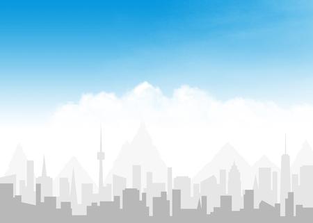 도시의 스카이 라인과 구름과 푸른 하늘 추상적 인 배경 일러스트 레이 션 복사본 공간