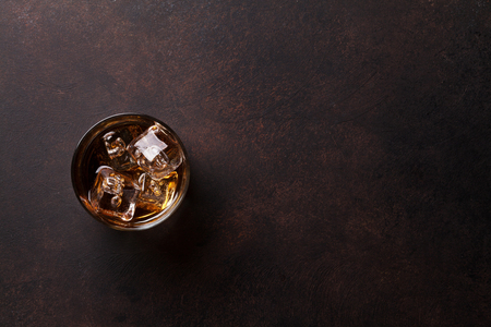 Whiskey with ice. Top view with copy space Banco de Imagens