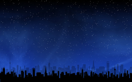 Skyline and deep night sky with many stars