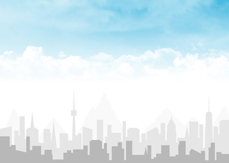 City skyline and blue sky with clouds abstract background illustration with copy space