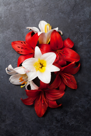 Colorful lily flowers on dark stone background. Top view