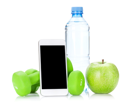 Fitness concept. Dumbbells, smartphone, water bottle and apple. Isolated on white background