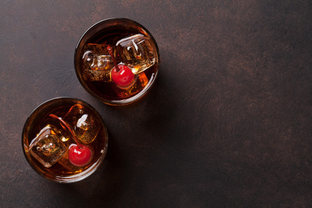 Manhattan cocktail with whiskey. Top view with copy space Stock Photo