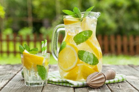 Lemonade with lemon, mint and ice on garden table Imagens