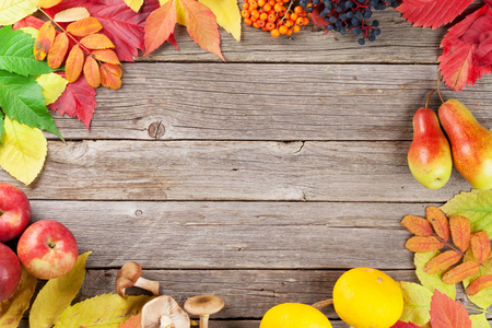Autumn wooden background with fruits, mushrooms and colorful leaves. Top view with copyspace for your text