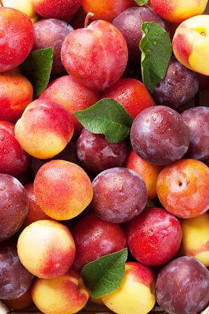 新鮮な熟した桃のクローズ アップ。トップ ビュー 写真素材
