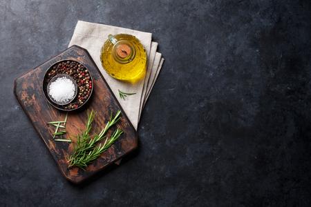 料理の食材、石のテーブルの上の器具。あなたのレシピをコピー スペース平面図 写真素材