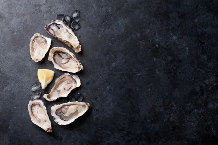 Opened oysters, ice and lemon on stone table. Half dozen. Top view with copy space Stock Photo