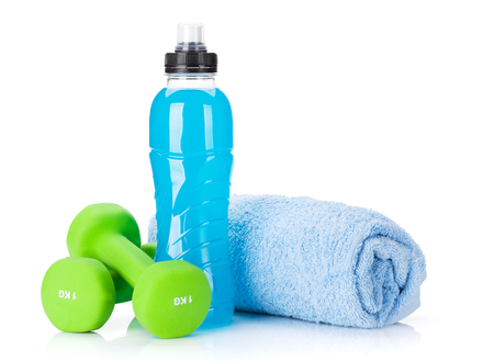 Dumbbells, towel and water bottle. Fitness and health. Isolated on white background Stock fotó - 85447980