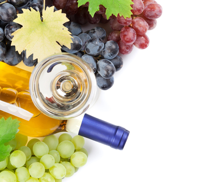 Wine and grapes. Isolated on white background. Top view
