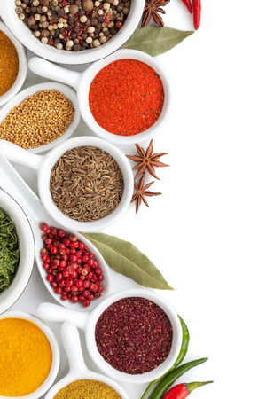 Various spices selection. Isolated on white background Banco de Imagens