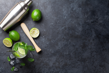 Mojito cocktail on dark stone table. Top view with copy space for your text