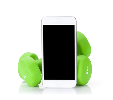 Fitness concept. Dumbbells and smartphone. Isolated on white background
