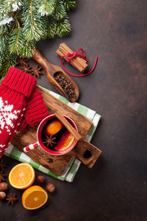 Christmas mulled wine and ingredients. Top view with copyspace Stock Photo