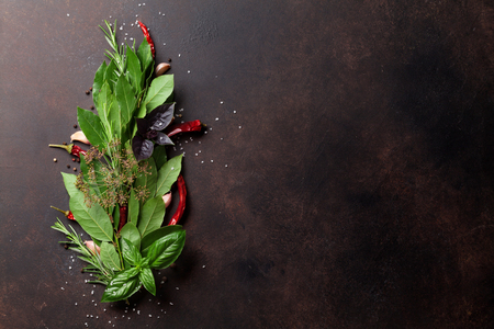 Herbs and spices on stone table. Top view with space for your text Banco de Imagens