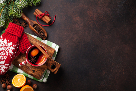 Christmas mulled wine and ingredients. Top view with copyspace Stok Fotoğraf